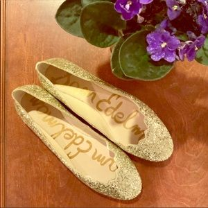 NWOB Sam Edelman Alaine Gold Glitter Flats
